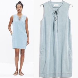 Madewell Sz S Lace up chambray shift dress